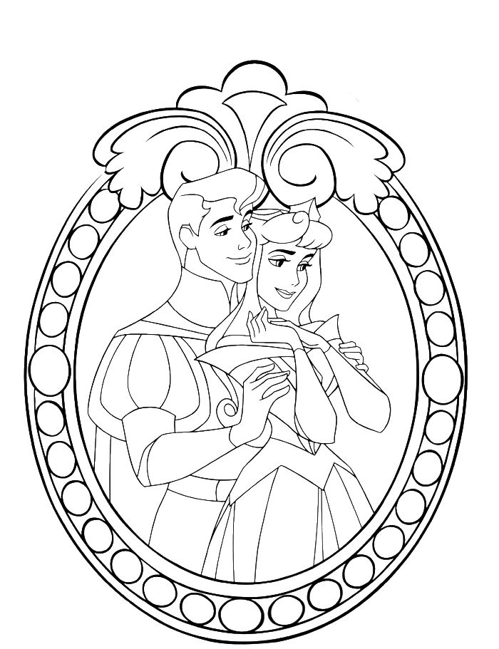 Princess Aurora And Prince Coloring Pages