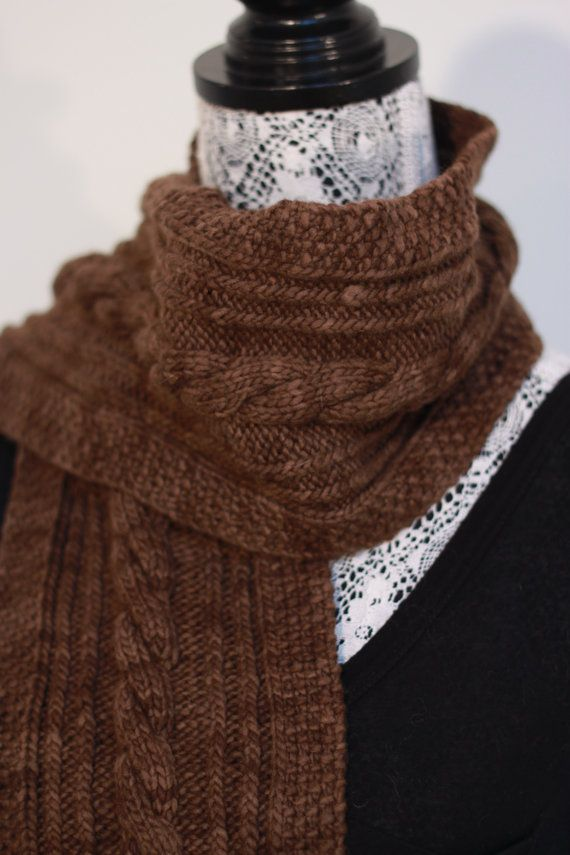 Brown cable knit scarf // Extremely warm // by SoppyKnitsStuff