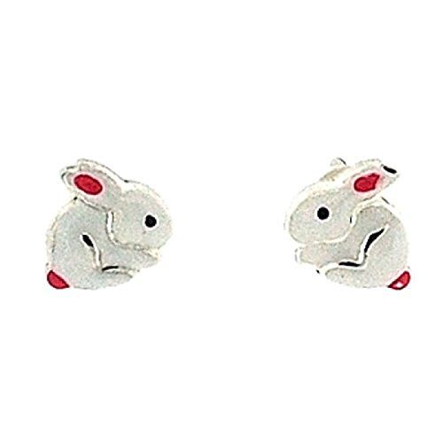 TOC Girls Sterling Silver White Bunny Rabbit Stud Earrings