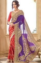 Glamorous Stawberry Red and Purple Saree - https://www.ethanica.com/products/glamorous-stawberry-red-and-purple-saree