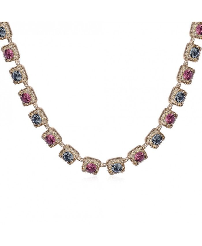 Charming Vintage Multicolor Crystal Diamonds Pendant Rose Gold Plated Necklace
