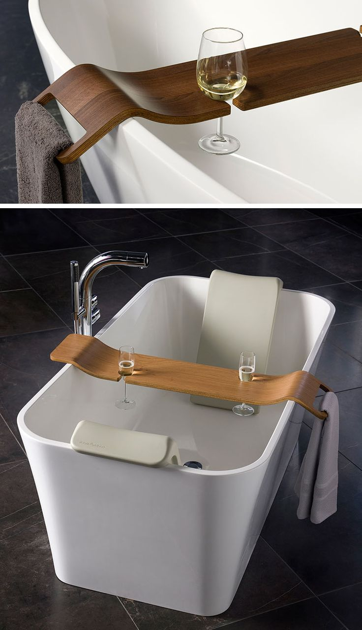 Bath caddy with book and wine glass holder made from brown Kiaat and ...