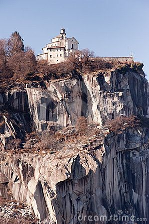 "Madonna del Sasso Church built on a rock at Lake Orta, Italy is a pilgramage site and a ""dream wedding"" spot by Piero Cruciatti on Dreamstime"