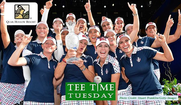 Did you know… The Solheim Cup is the Women's equivalent of the Ryder Cup. Established in 1990, the Tournament includes a Ladies European Tour and an LPGA Tour. Here, Team USA poses with the Solheim Cup after beating Team Europe 16 1/2 to 11 1/2 during closing ceremony of The Solheim Cup at Des Moines Golf & Country Club on August 20, 2017 in West Des Moines, Iowa.  Photo Credit: Stuart Franklin/Getty Images   #golf #golftrivia #quailhollow #ohiogolf #ohiohotel