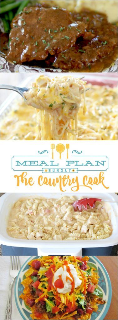 An entire weekly meal plan with recipes from The Country Cook! Recipes include: Crock Pot Cubed Steak and Gravy, Chicken Spaghetti, Crock Pot Salsa Ranch Chicken Pasta, Dorito Taco Salad, No-Bake Chunky Monkey Cake and so much more! www.thecountrycook.net