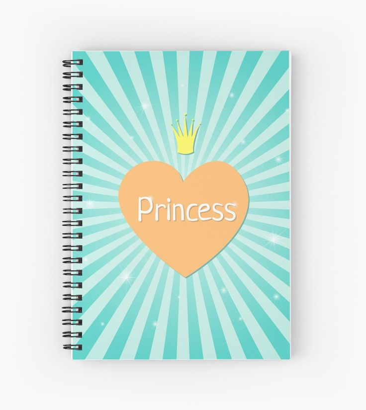 Lovely Princess by LunaPrincino  #lunaprincino #design #graphic #print #prints #redbubble #gift #idea #ideas #stationery #spiral #notebook #graphics #cool #creative #office #style #princess #heart #lovely #girlish #for #girls #kids #pretty #cute #teal #turquoise #beautiful #little #crown #sparkle #sunburst #school