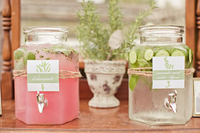 Drink Station: pink lemonade and cucumber infused water ~ Jodi Miller Photography