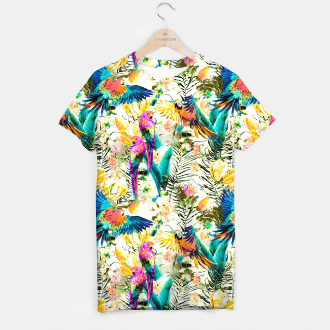 Jungle of fruit with tropical parrots Camiseta, Live Heroes