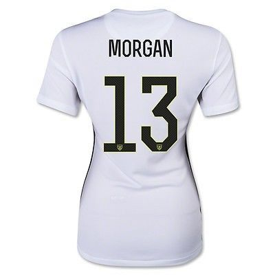 NIKE ALEX MORGAN USA WOMEN'S HOME JERSEY 2015/16 NATIONAL TEAM PRIDE The 2015 U.S. Stadium Home Women's Soccer Jersey is made with breathable Dri-FIT fabric for lightweight comfort. Featuring a woven