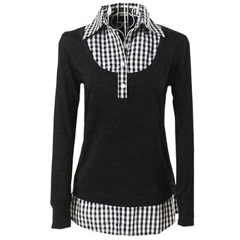 Las mujeres camisas de tela escocesa tops señoras de la oficina camisa gira el collar abajo de manga larga 4xl 5xl xxxxl plus size clothing vintage blusas WD466
