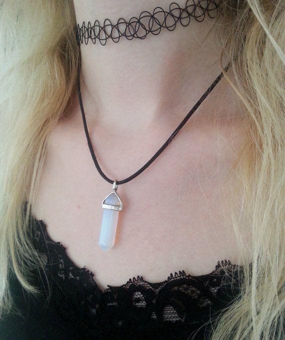 Opal Crystal choker necklace by steelrosejewelry on Etsy $13.16