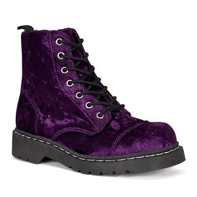 Purple Velvet Combat Boots @ SinisterSoles.com