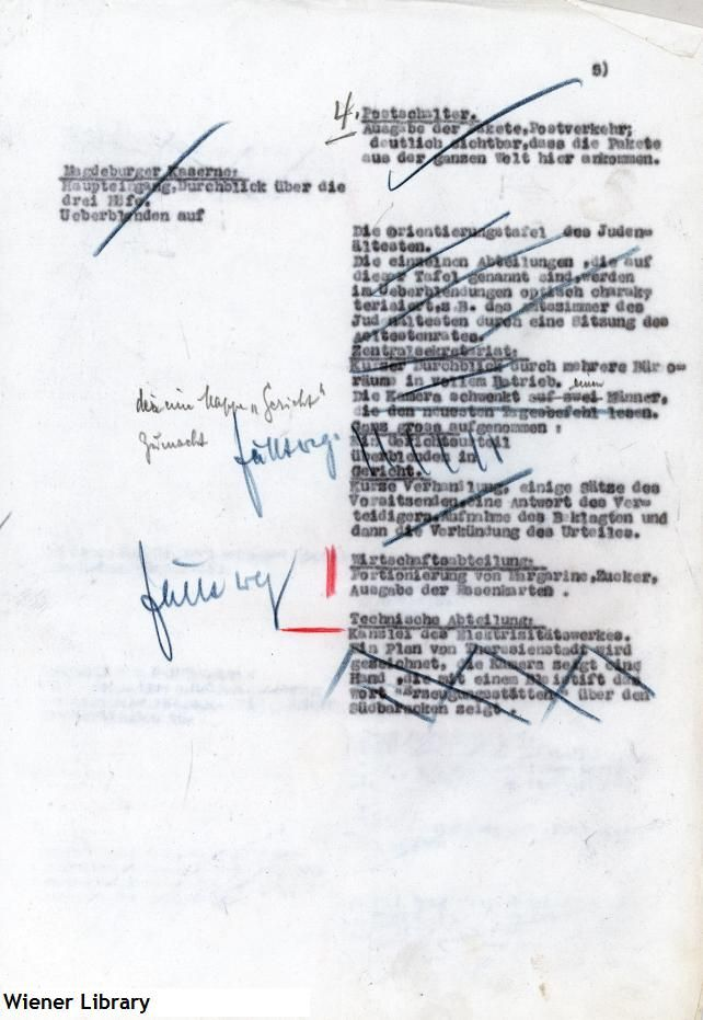 Page of an annotated draft overview of Kurt Gerron's propaganda film on Theresienstadt Ghetto. Gerron was a Jewish prisoner in Theresienstadt and was forced by the SS to direct the documentary. He later perished in Auschwitz in 1944.