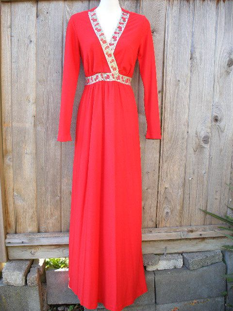 Red 70s Vintage House Dress With Metallic Gold by VintageEclectica, $48.00