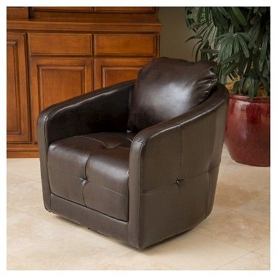 Concordia Leather Swivel Chair Brown Leather - Christopher Knight Home, Black
