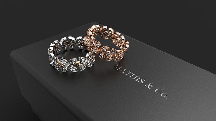 Anello eternity in oro bianco e rose gold, diamanti,