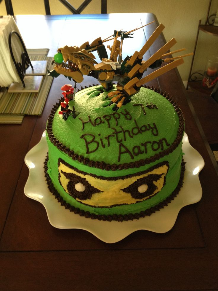 Ninjago Cake Green Lloyd And The Golden Dragon My Cakes