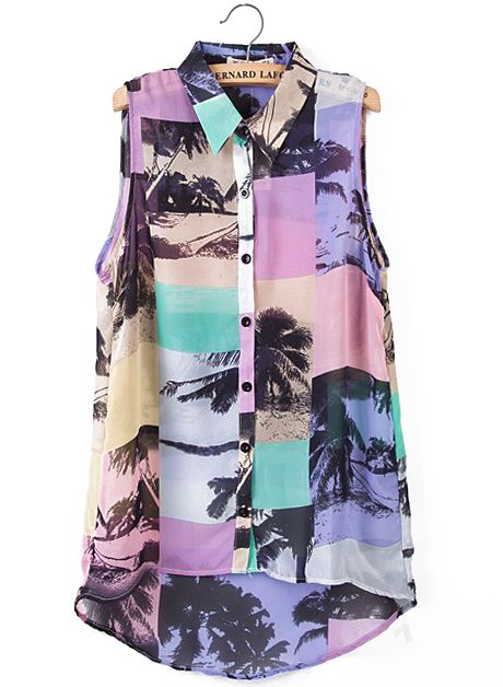 Purple Lapel Sleeveless Coconut Tree Print Blouse