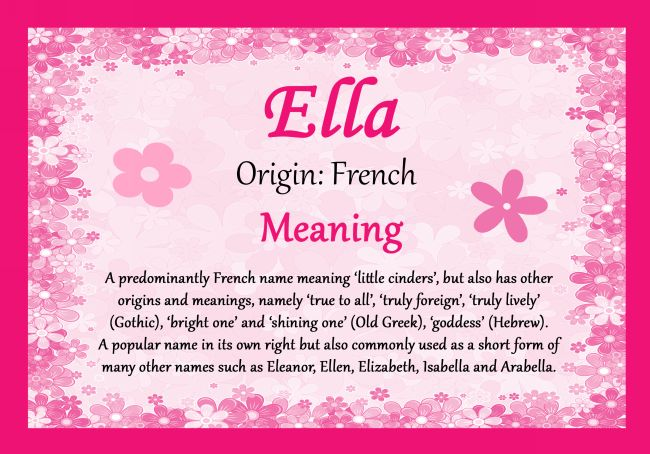 ELLA Personalised Name Meaning CertificateThis high quality A4 ELLA Personalised Name Meaning Certificate is Gloss laminated to give a shiny wipe