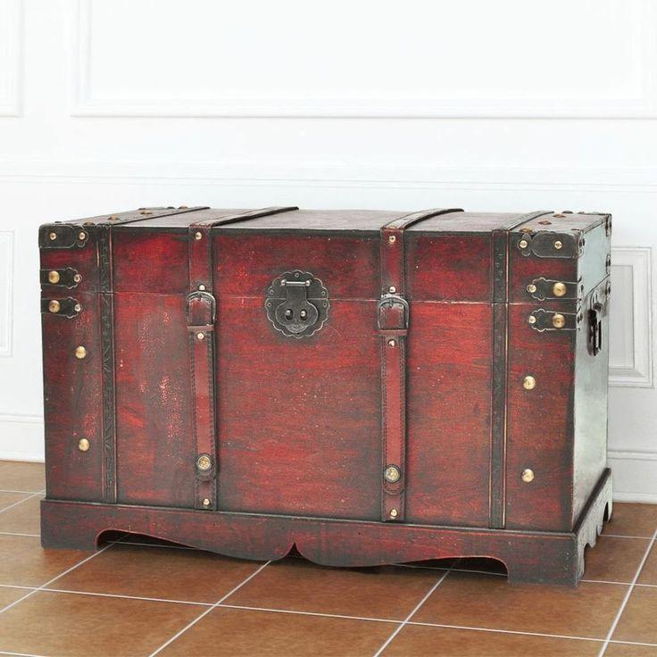 Vintage Treasure Chest Large Storage Mocha Brown Color Bedroom Hallway Furniture