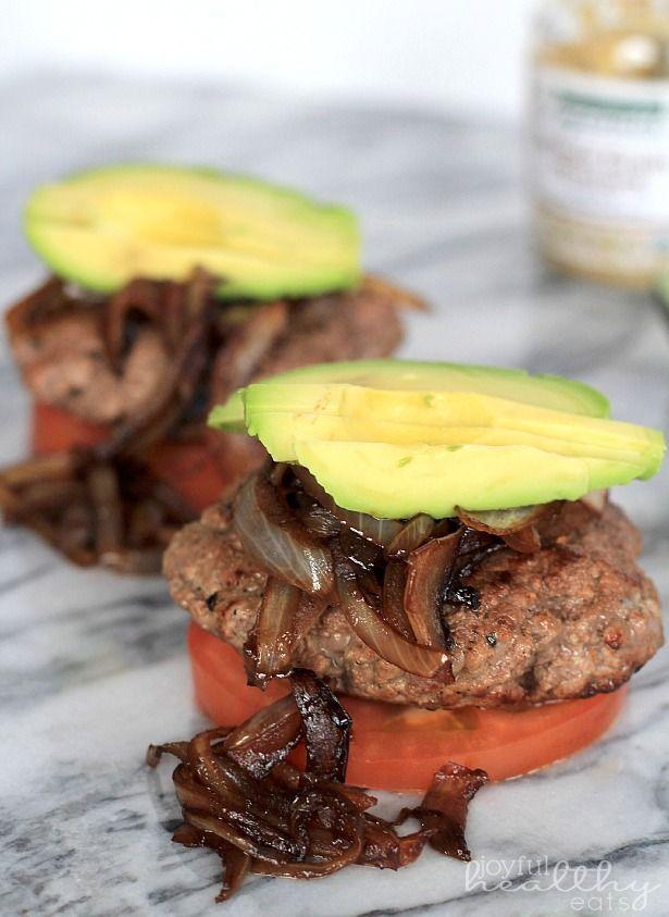 Paleo (Bunless) Burgers with Caramelized Balsamic Onions & Avocado | www.joyfulhealthyeats.com