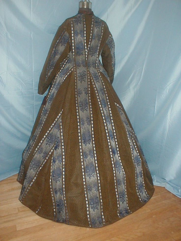 An antique original 1860 silk wrapper dress. The fabric has a royal blue and silver stripe pattern on a dotted brown silk background. The dress is fully lined with cotton. The neck and armscyes are piped. | eBay!