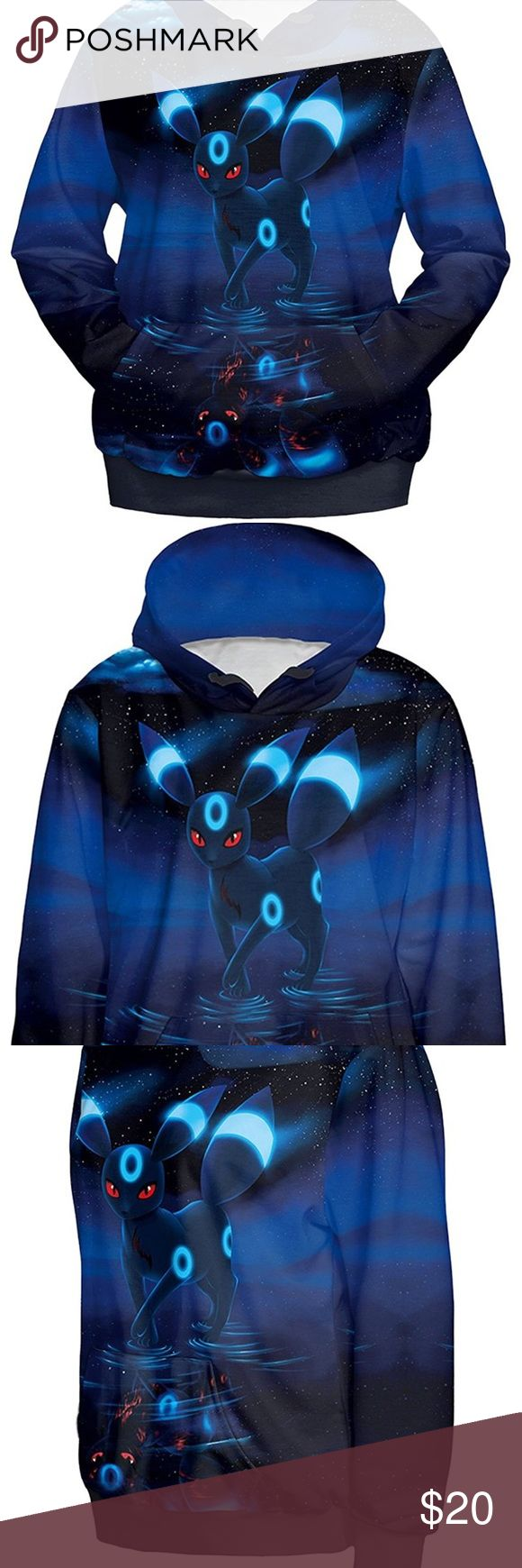 """Cutiefox Women's 3D Umbreon Printed Hoodie, Sz L 🔷 Fabric:  95% Polyester, 5% Spandex  🔷 Novelty 3D Digital Print Pullover Hoodie Sweatshirt  🔷 Soft, Stretchy & Loose Fit 🔷 Bust:  Approximate 41"""" 🔷 Length:  Approximate 26"""" 🔷 Machine Washable or Hand Wash Cutiefox Tops Sweatshirts & Hoodies"""