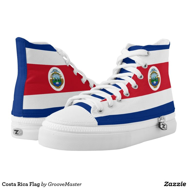 Costa Rica Flag High-Top Sneakers Tico Rican Proud to be