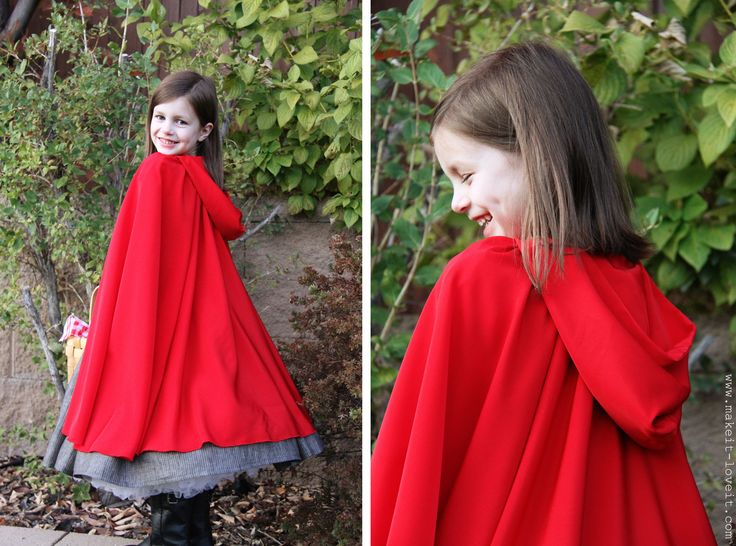 "red riding hood cape2 yards of red ""silky solid"" fabric for cape (100% polyester, almost like satin but a nicer drape and really flowy, on sale for $5/yd)"
