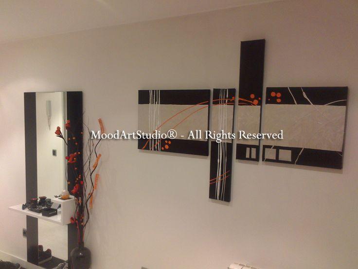 Cuadro  moderno plata y negro con pintura en relieve. Este en concreto lo hemos personalizado por este cliente con un toque naranja. http://www.moodartstudio.es/es/cuadros-abstractos/101-cuadro-negro-y-plata-con-relieve-chant-01-.html