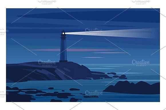 Lighthouse on a rock at night.  by Kurokstas on @creativemarket
