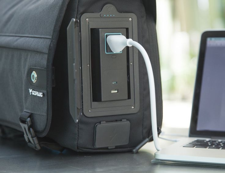 Travel with power with the GoPlug Powered #Bag with built-in ports. To use, simply attach the included solar panel to the bag with the integrated carabiners and plug it into the #powerbank.
