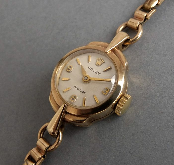 Sold Rolex 9k Solid Gold Ladies Vintage Watch With Rolled