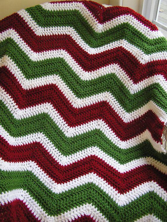 chevron zig zag baby afghan blanket wrap christmas crochet toddler lap robe wheelchair ripple stripes VANNA WHITE yarn made in the USA.