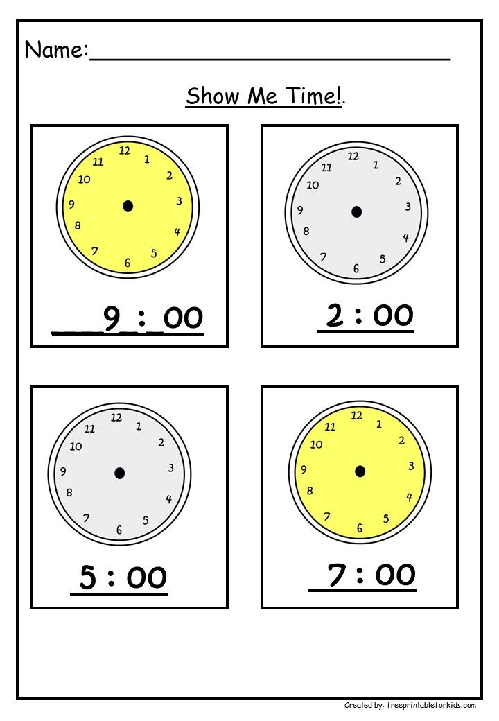First Grade Math Printable Worksheets Show Me Time Kids Worksheets Printables Printable Worksheets First Grade Math Worksheets