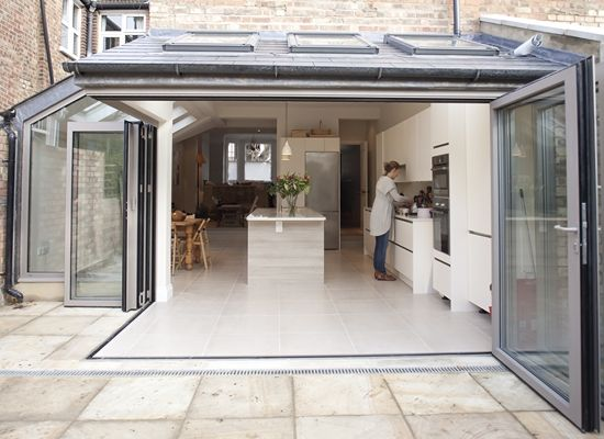 Extension - interesting corner detail with bi-folding doors, really bringing the outside in. Great for entertaining! CLICK http://www.hollandgreen.co.uk/house_extensions#.U_L9sPldU7k to see if you could do something similar.