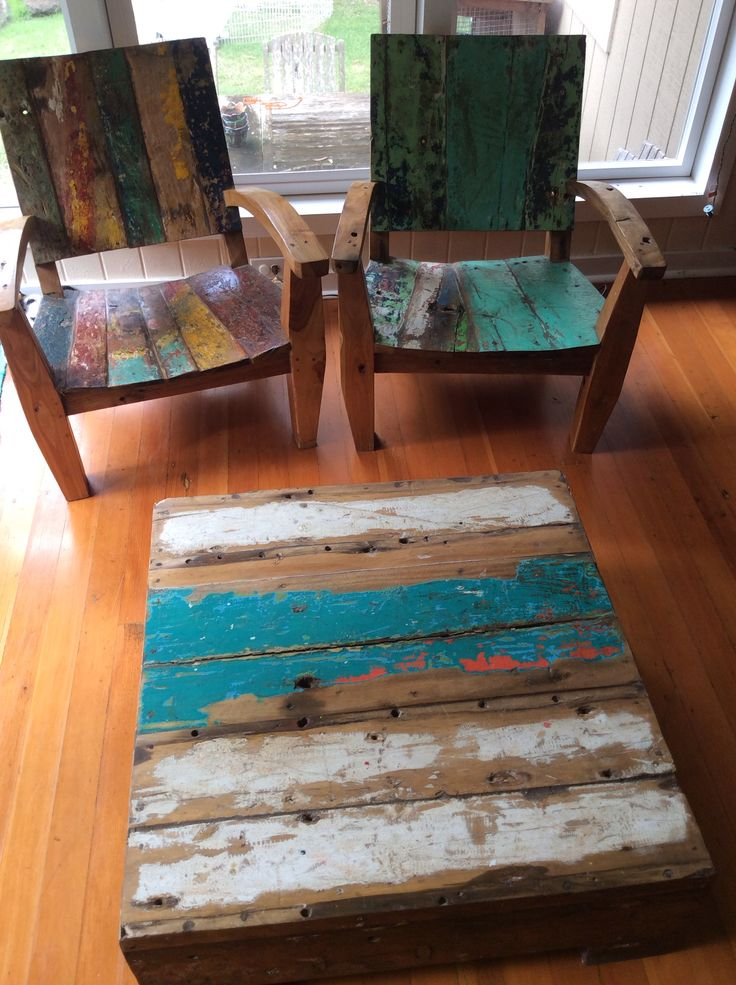 Furniture Set From Reclaimed Fishing Boats And Teak.