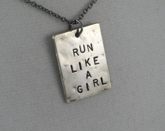 RUN LIKE A GIRL Round Pendant with Running Shoe by TheRunHome