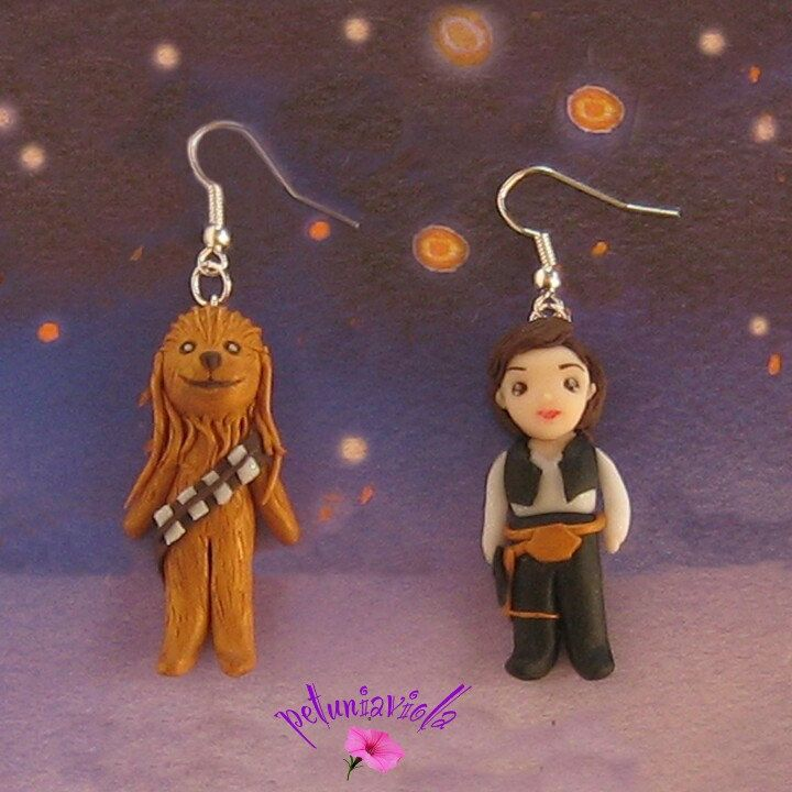 Star Wars Han Solo and Chewbacca earrings. Fimo earrings. Gift idea. Nuevos Star Wars Pendientes de arcilla polimrica.