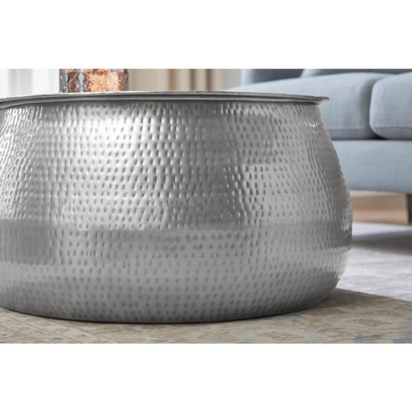 Silver Hammered Metal Drum Cala Accent Table Hammered Coffee