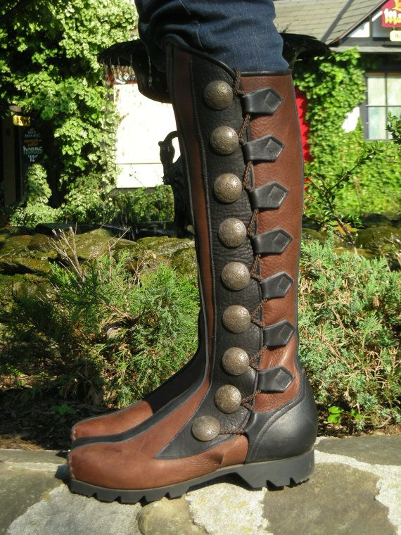 Leather Boots 9 button Square Toe SteamPunk by SonofSandlar, $650.00
