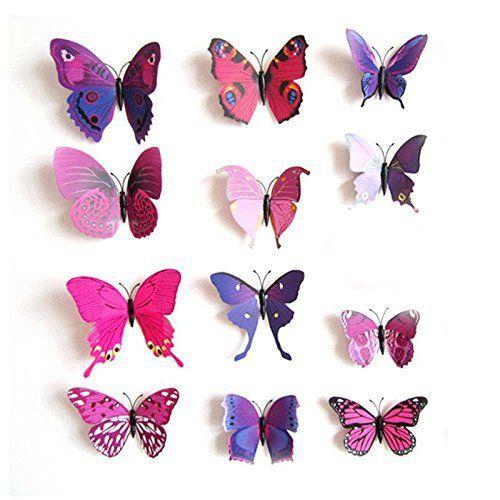 【Black Friday Promotion】upspirit 12 3D Papillon artificielle Aimants pour Réfrigérateur magnétique autocollants: Tweet autocollants muraux…