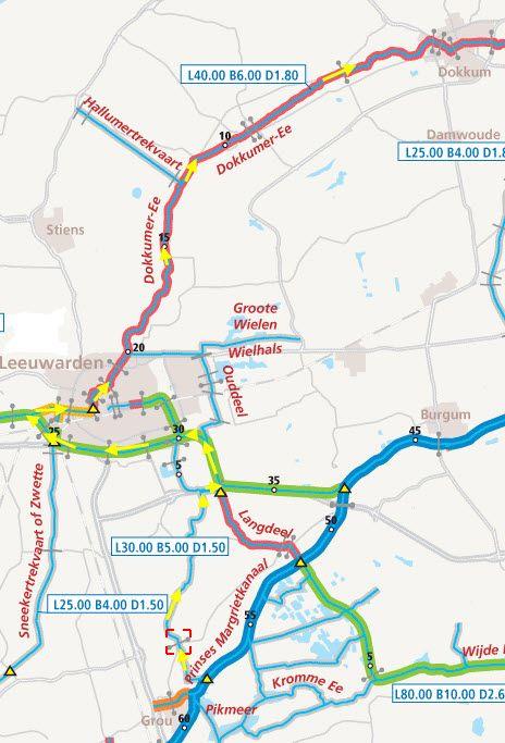 Из Леммер идет на большой Brekken и принцесса Margrietkanaal в Grouw. Там вы идете в ББ. Затем через бл Галле, Wergeasterfeart, новый маршрут на Wergea обратно и через Акведук Langdeelnaar в связи с Harinxmakanaal (km32). Если вы Harinxmakanaal парусный спорт, вы выберете для Нидерландов/Харлингена в направлении Леуварден . Маршрут имеет ограниченную глубину 1 .90 метр, которая идет из Гроу и для гребли в городе Леуварден, в Dokkummer УО и по реке рейтдип.