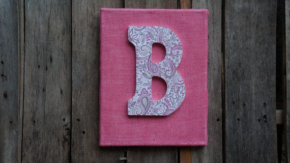 Pink canvas with the letter B, burlap canvas art, burlap art, canvas wall art, letter B art, wooden letter, burlap canvas, canvas art