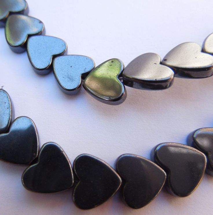 Hematite Heart Beads for Jewellery Making 10 mm x 20 #Unbranded