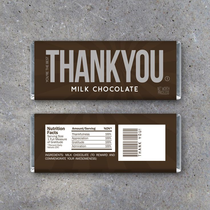 THANK YOU Candy Bar Wrappers – Printable Instant Download – Thank You Hershey's Candy Bar Wrappers – Great for Teachers, Coaches & more! by Studio120Underground on Etsy https://www.etsy.com/listing/237674172/thank-you-candy-bar-wrappers-printable