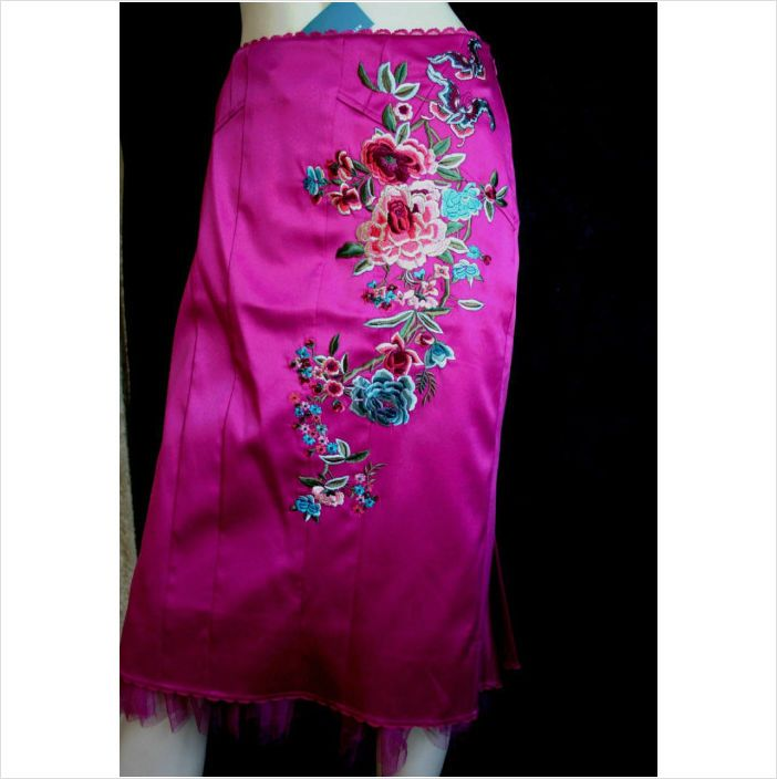 Karen Millen Embroidered Oriental Pink Satin Skirt Size 12 uk New with Tag