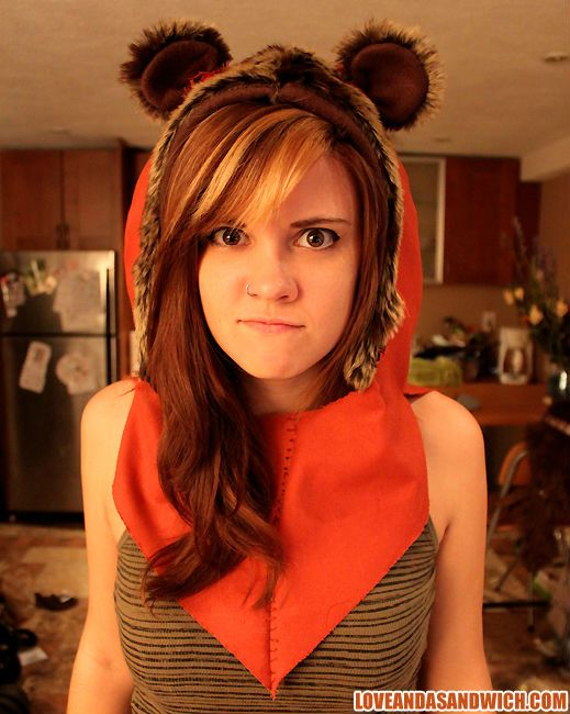 Ewok Hood. I must have it   ... not sure if a pattern, but I will make it!!