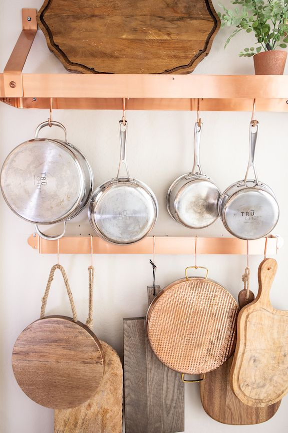 Store Your Pots And Pans On These Beautiful Pot Racks Pot Rack Hanging Kitchen Wall Hangings Pot Rack