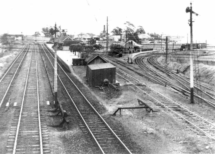 East Maitland Railway Station in the early to mid 20th Century The junction to the right of the station is the line to Morpeth branch,where a train is coming in.